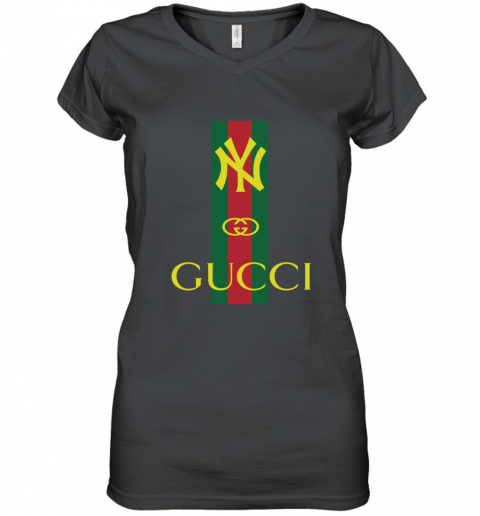 Gucci Logo New York Yankees Women's V-Neck T-Shirt
