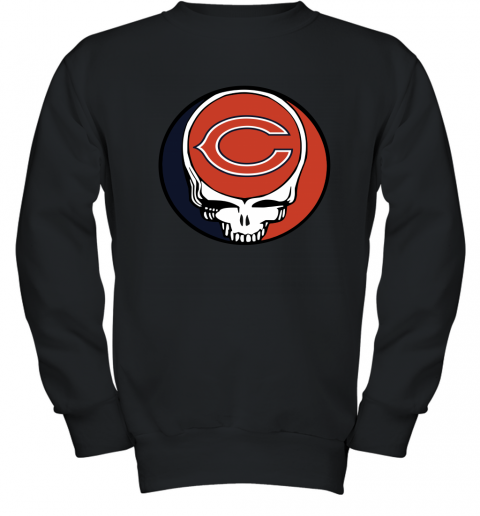 Chicago Bears Grateful Dead Steal Your Face Football NFL Youth Crewneck Sweatshirt