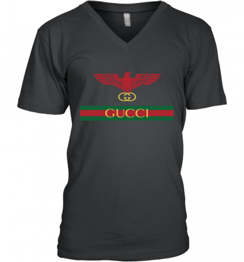 Gucci Menswear Logo Eagle Fire V-Neck T-Shirt