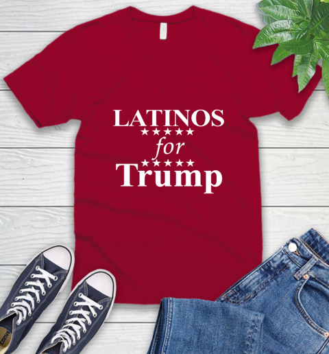 Latinos For Trump V-Neck T-Shirt 7
