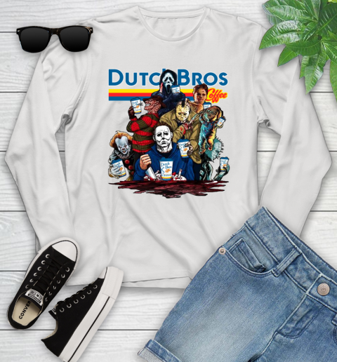 Horror Characters with Dutch Bros Coffee Youth Long Sleeve
