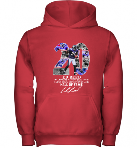 timeless design bf383 65f6d Ed Reed 20 Baltimore Ravens Super bowl champion hall of fame Youth Hoodie
