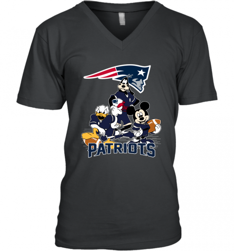 NFL New England Patriots Mickey Mouse Donald Duck Goofy Football T Shirt V-Neck T-Shirt
