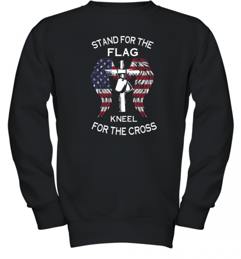 stand for the flag kneel for the cross Youth Sweatshirt