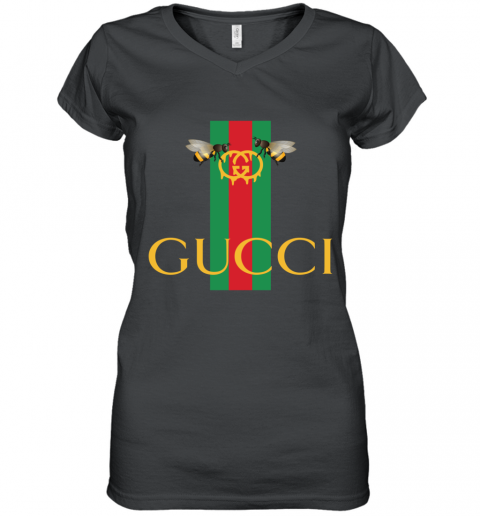 Gucci Bee Shirt Logo 2019 Women's V-Neck T-Shirt
