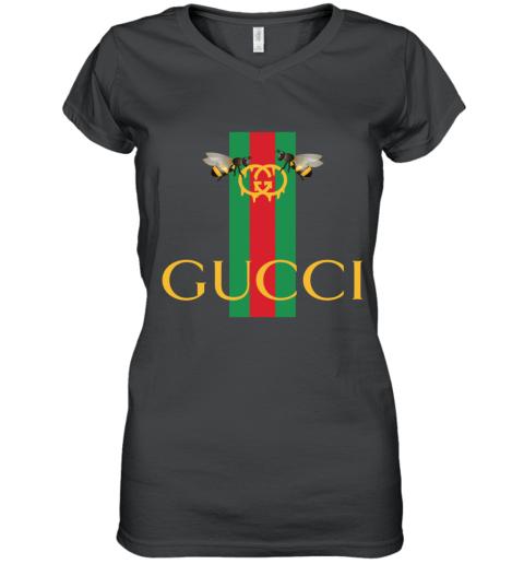 Gucci Bee Shirt Logo 2019 Women's V-Neck T-Shirt