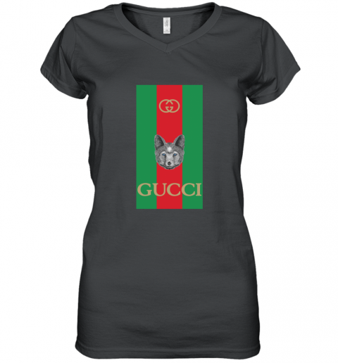 Gucci Logo Wolf Women's V-Neck T-Shirt