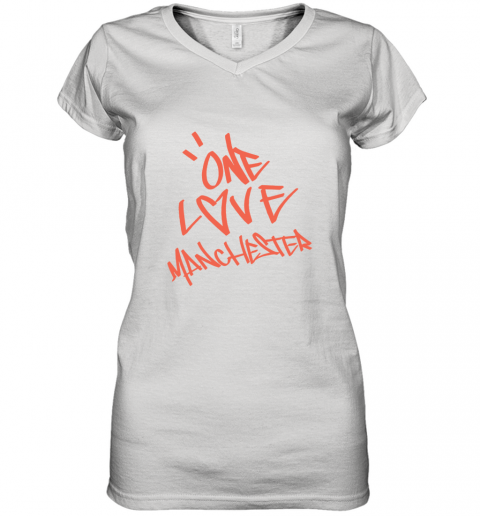 ARIANA GRANDE  ONE LOVE MANCHESTER Women's V-Neck T-Shirt
