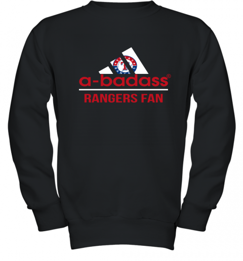 MLB A Badass Texas Rangers Fan Adidas Baseball Sports Youth Sweatshirt