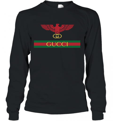 Gucci Menswear Logo Eagle Fire Long Sleeve T-Shirt
