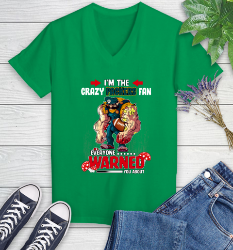 Green Bay Packers NFL Football Mario I'm The Crazy Fan Everyone Warned You About Women's V-Neck T-Shirt 5