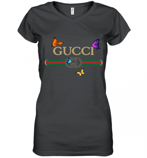 Gucci Logo Butterfly Printed Women's V-Neck T-Shirt