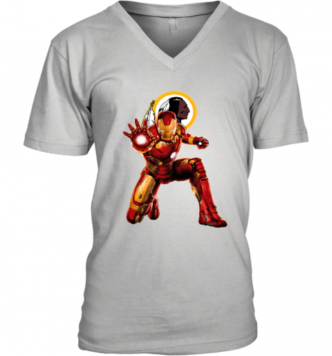 NFL Iron Man Marvel Avengers Endgame Football Sports Washington Redskins V-Neck T-Shirt