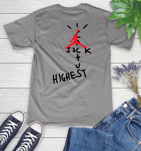 Travis Scott Cactus Jack Jordan Highest Women's V-Neck T-Shirt 11