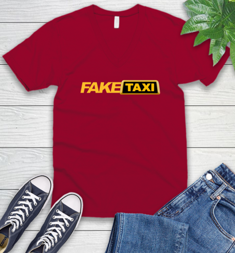Fake taxi V-Neck T-Shirt 8