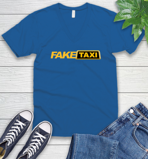 Fake taxi V-Neck T-Shirt 6