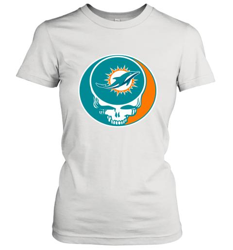 NFL Miami Dolphins Grateful Dead Rock Band Football Sports Women's T-Shirt