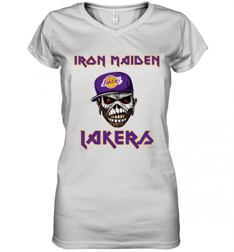 NBA Los Angeles Lakers Iron Maiden Rock Band Music Basketball Sports Women's V-Neck T-Shirt