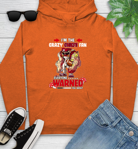 Kansas City Chiefs NFL Football Mario I'm The Crazy Fan Everyone Warned You About Youth Hoodie 4