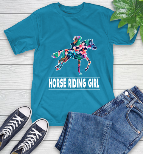 I'm A Horse Riding Girl Love Flowers And Never Give Up T-Shirt 21