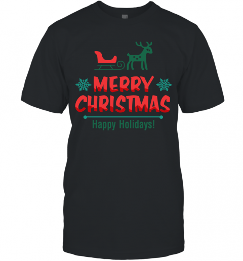 Cute Reindeer Merry Christmas Happy Holiday Men's T-Shirt