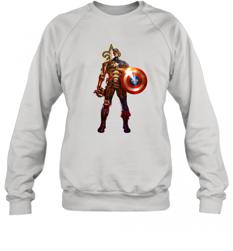 NFL Captain America Marvel Avengers Endgame Football Sports New Orleans Saints Sweatshirt