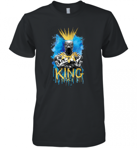 Marvel Black Panther King T�Challa Blue and Gold Men's Premium T-Shirt