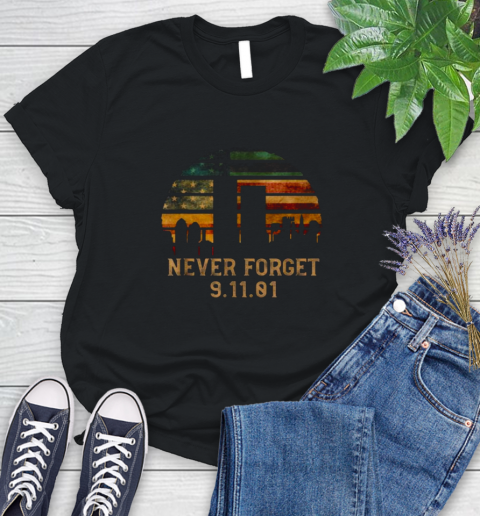 Awesome Never forget Patriotic 911 American Flag Vintage Women's T-Shirt