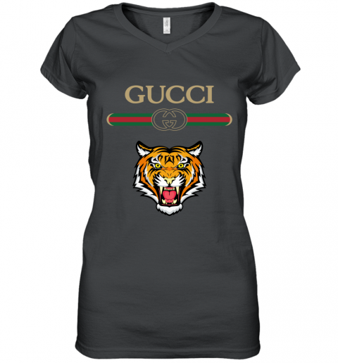 Gucci Logo With Tiger Women's V-Neck T-Shirt