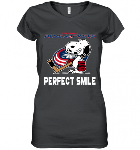 NHL Columbus Blue Jackets Snoopy Perfect Smile The Peanuts Movie Hockey T Shirt Women's V-Neck T-Shirt