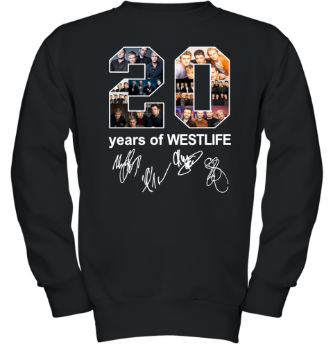 20 Years Of Westlife Thank You For The Memories With Signatures Youth Crewneck Sweatshirt