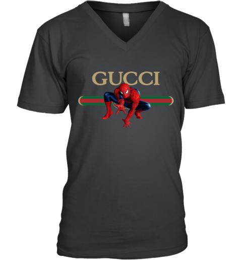 Gucci Logo Spiderman V-Neck T-Shirt