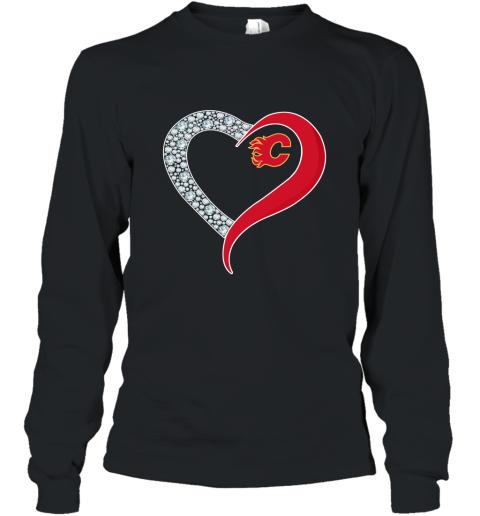Diamond Calgary Flames Heart shirt Long Sleeve T-Shirt