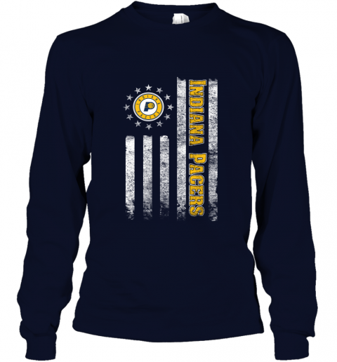 the latest a1080 a732a NBA American Flag Basketball Sports Indiana Pacers Long Sleeve T-Shirt