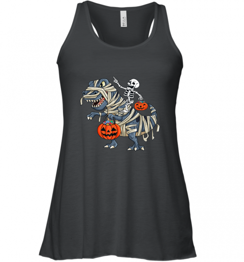 Skeleton Riding T Rex Funny Halloween Boys Girls shirt Racerback Tank