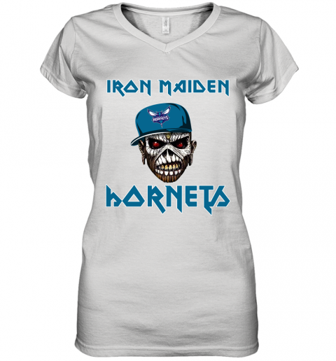 NBA Charlotte Hornets Iron Maiden Rock Band Music Basketball Sports Women's V-Neck T-Shirt
