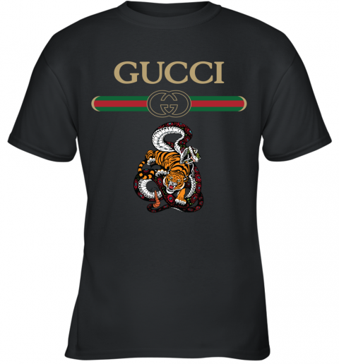 2020 Gucci Logo Fighting Snake Vs Tiger Youth T-Shirt