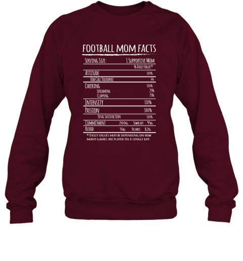 Football Mom Facts Shirt Funny Gift For Football Player Mother Sweatshirt