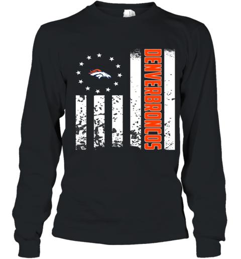 f920de05 NFL Denver Broncos Logo American Flag Youth Long Sleeve T-Shirt