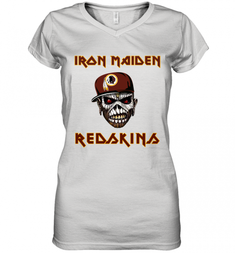 NFL Washington Redskins Iron Maiden Rock Band Music Football Sports Women's V-Neck T-Shirt