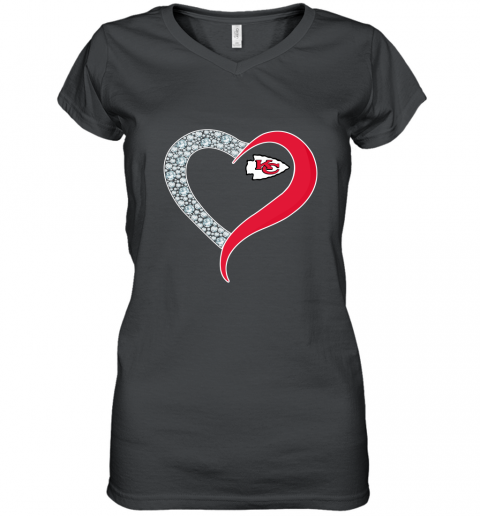 Diamond Kansas City Chiefs Heart shirt Women's V-Neck T-Shirt