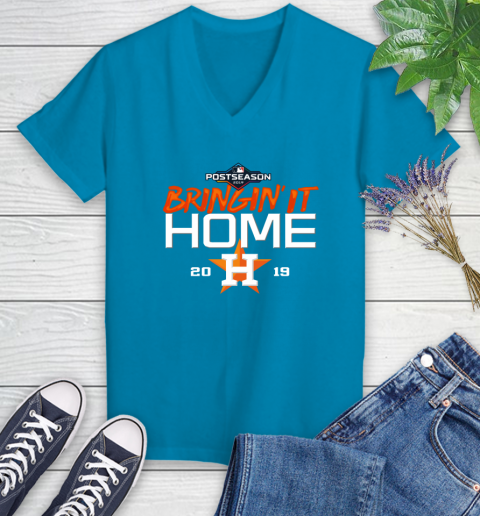Bringing It Home Astros Women's V-Neck T-Shirt 7