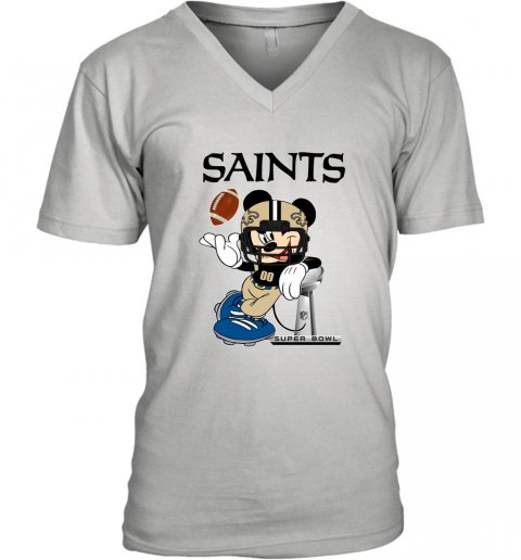 NFL New Orleans Saints Mickey Mouse Disney Super Bowl Football T Shirt V-Neck T-Shirt