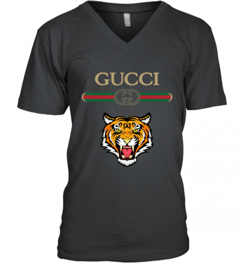 Gucci Logo With Tiger V-Neck T-Shirt