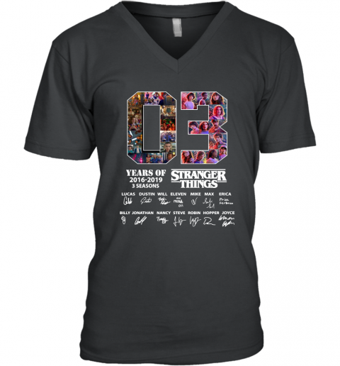3 Years Of Stranger Things Thank You For The Memories Signature Men's V-Neck T-Shirt