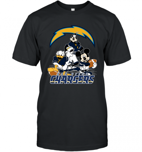 NFL San Diego Chargers Mickey Mouse Donald Duck Goofy Football T Shirt T-Shirt