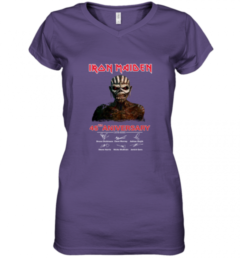1975 2020 Iron Maiden 45th Anniversary Women's V-Neck T-Shirt