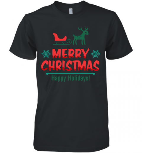 Cute Reindeer Merry Christmas Happy Holiday Men's Premium T-Shirt