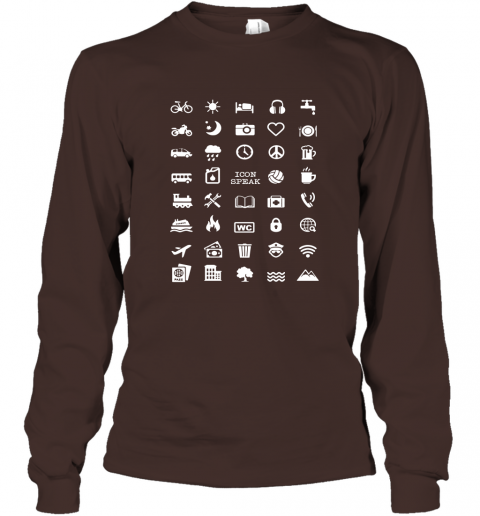 Cool Icon Traveller Funny Speak Love 40 Travel Icons Long Sleeve