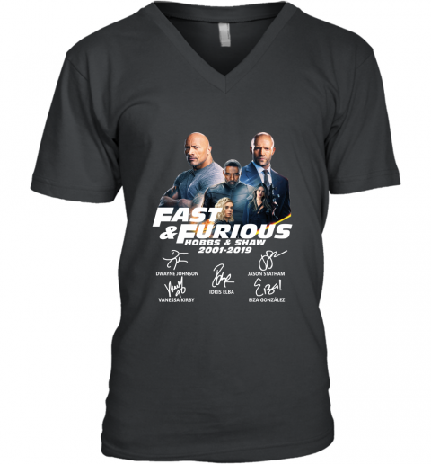 18 Years Of Fast And Furious Hobbs And Shaw Signature V Neck T Shirt